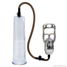 Átlátszó csövű péniszpumpa, fém pumpáló karral