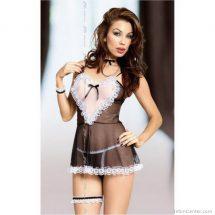 Softline Maid, fekete, átlátszó, szexi szobalány jelmez