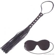 Fekete műbőr korbács és szemkötő s/m játékokhoz