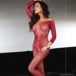 Szexi, hosszú újjú piros testharisnya, Abra Maroon