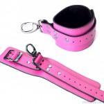 Karabineres bőr bokabilincs, rózsaszín, 1 db