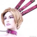 Bőr nyakörv, keskeny rózsaszín