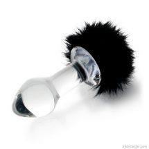 Üveg anál dugó, butt plug szexi szőrmével 10 cm