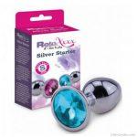 Butt plug S méret, kék ékkővel RelaXxxx Silver Starter Plug