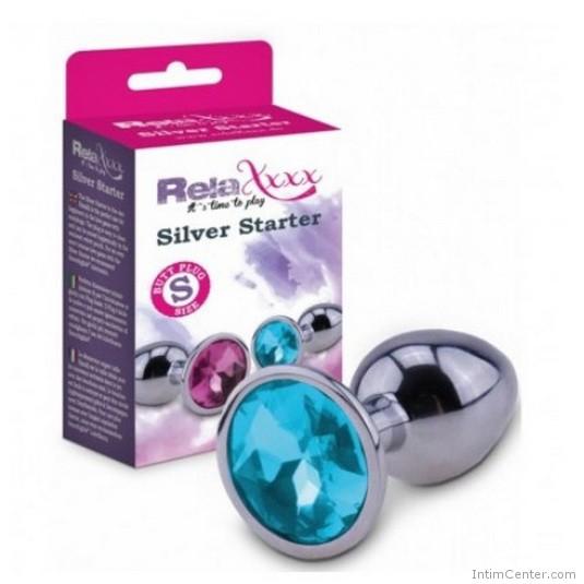 Butt plug két méretben, kék ékkővel RelaXxxx Silver Starter Plug